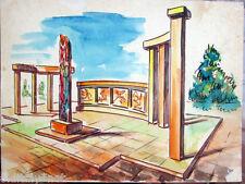 Acquerello '900 su carta Watercolor Architettura futurista cubista razionale-28