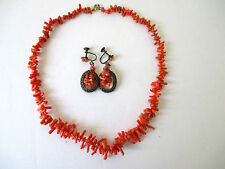 """Vintage Red Coral Necklace 16"""" & Matching Screw Back Earrings"""