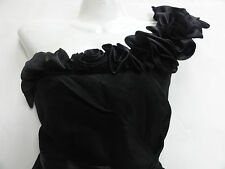 BLACK SATIN RUFFLE 50'S VINTAGE STYLE DRESS 14 EVENING PARTY RED HERRING