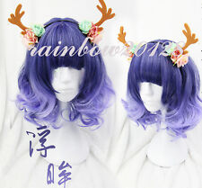 Blue Purple Gradient Cute Harajuku Lolita Curly Anime Cosplay Wig Only Wig