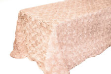 90 X 132 BLUSH PINK RIBBON ROSE ROSETTE SATIN TABLECLOTH