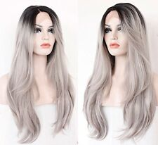 Anogol Wavy Synthetic Lace Front Wig 18-Inches Ombre Grey Silver Hair Styling