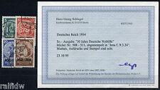 Dt. Reich Nothilfe 1933 Blockeinzelmarken Michel 508-511 Befund (S9546)