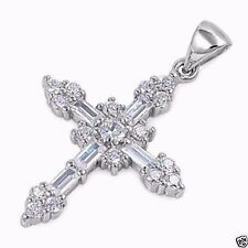 USA Seller Baguette CZ Cross Pendant Sterling Silver 925 Best Price Jewelry