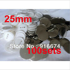 """1"""" 25mm 100Sets Pin Badge Button Parts Supplies for Pro Maker Machine"""