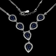 GORGEOUS NATURAL BLUE SAPPHIRE DIFFUSION,WHITE CZ 925 SILVER NECKLACE 18 INCHES.