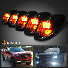 Amber LED Cab Roof Top Lights Marker Running Lamps Smoke 5Pcs Set