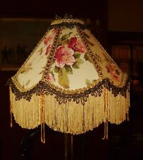 OSBORNE A VICTORIAN DOWNTON BEADED LAMPSHADE. FADED PINKS GREENS & GOLD. 12""