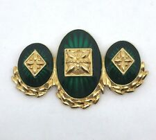 Vintage Signed Monet Emerald Green Glass/acrylic Gold Plated Statement Brooch
