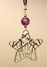 Handmade Christmas Tree Ornament Decoration Silver STAR with Swarovski Crystal