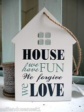 House Love Fun shabby chic Inscription Wooden Sign Written Quote white blue