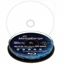 MR509] 1 Spindel 10 Mediarange Bluray BD-R 50GB Full Printable Rohling 50 GB 6x