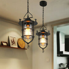 Vintage Ceiling Lamp Glass Shade Pendant Light Black Kitchen Shop Bar Chandelier