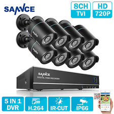 SANNCE 1080N 8CH 5IN1 DVR 8x 720P IR Night Vision IP66 HD Camera Security System