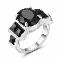 Size6 Silver Rhodium plated Wedding Engagement Ring Black Topaz Crystal Cocktail
