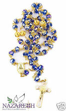 Gold Plated Blue Crystal Beads Rosary Miraculous Medal With St Benedict Cross