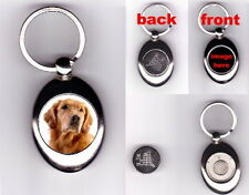 GOLDEN RETRIEVER DOG TROLLEY COIN TOKEN KEYRING ANIMAL PET LOVER PHOTO GIFT