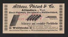 ATTENDORN, Anzeige 1909, Althaus, Pletsch & Co. Blech-Walzwerk