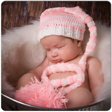 """Crochet Baby Pink And White Striped Long Tail Elf Hat 16"""""""
