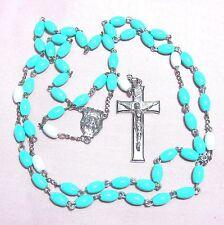 """Rosary blue-green aqua plastic beads 24"""" B3"""