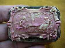 CL77-1) Colonial couple man courting woman pink + ivory CAMEO Pin Pendant brooch