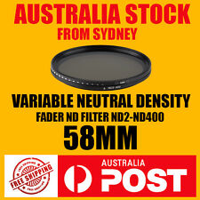 Variable Neutral Density Fader ND2 ND400 ND Filter 58mm Camera Lens DSLR New