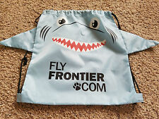 Frontier airlines shark drawstring backpack tote bag