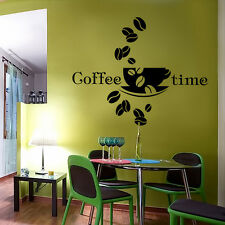 Wandtattoo Wandaufkleber Küche Kaffee Bohnen Tasse Cafe Wandsticker WT108