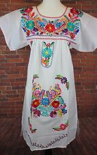 Medium Peasant Tunic Boho Hippie Silk Embroidered Mexican Above Knee Dress