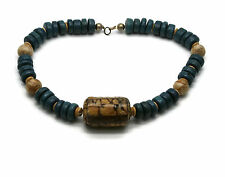 Chunky Wooden Beaded Necklace Blue Brown Hippie Boho Fashion Jewelry 18""