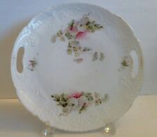Vintage Handled Cake Plate Cookie Serving Tray Pink White Snowballs Scrolls 10""