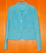 Aeropostale Large Turquoise Blue Corduroy Silver Butterfly Button Jacket Blazer