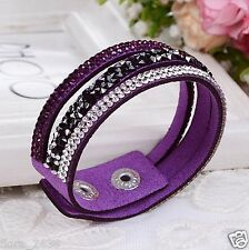 Joli Bracelet Wrap Slake mode fashion strass violet transparent bijoux fantaisie