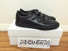 Common Projects Achilles Three Strap Black Leather Sneakers Sz 42 Bball Chelsea