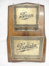 Vintage Dutch Oak and Brass Letter Newspaper Holder Wall Mount Brieven Dagbladen