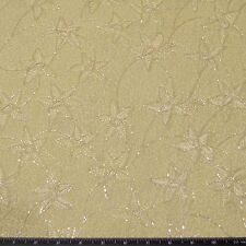"Cream embroidery on green yellow Chiffon 100% Silk Fabric 44"" W, By Yard, EB-926"