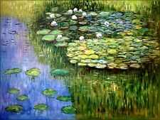 Claude Monet Water Lily Pond Repro, 100% Hand Painted Oil Painting, 30x40in