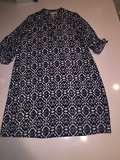 Ma Cherie Maternity Blue White Pattern Tunic Top Dress Cute!! S 3/4 Sleeve