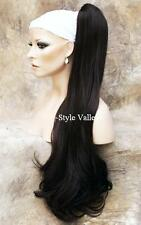 XXL BROWN BLACK Ponytail Long Wavy Extension Claw Clip in/on Hair Piece