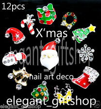 #12A_X2 Nail Art Tips Decoration Christmas Design Alloy Jewelry Glitter Slices