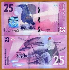 Seychelles, 25 rupees, 2016, P-New, Completely Redesigned, UNC   Birds, Fish