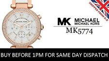 NEW MICHEAL KORS MK5774 WHITE ROSE GOLD PARKER CHRONOGRAPH WOMEN'S LADIES WATCH