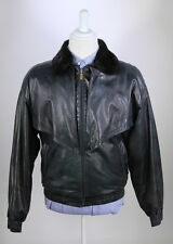 *ZILLI* 100% Authentic Navy Leather Bomber Jacket Cashmere Lining Fox Collar 40