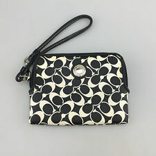 Coach Wallet Zip Up Wristlet Small Clutch Black White Leather Monogram