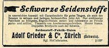 Adolf Grieder & Cie Zürich Schweiz Seidenstoffe Historische Reklame von 1900