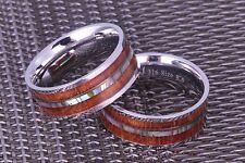 Koa Wood Wedding Band with Abalone inlay Mens Ring Womens Ring