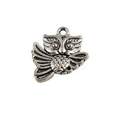 Wholesale Lots 25ps Tibetan Silver Owl Pendant Charms Jewelry Findings 19.5x17mm