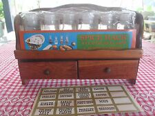 Retro vintage timber SPICE RACK with 2 draws,unopened jars & labels