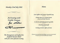 FRED TRUEMAN CRICKET LEGEND in person signed Menu Card