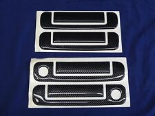 AUDI A4 B5 BLACK CARBON LOOK DOOR HANDLE COVERS also AUDI 80, 90, A6, 100 - 8pce